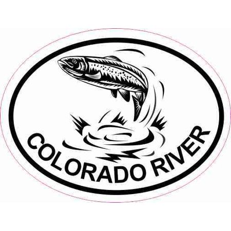 4in x 3in Oval Trout Colorado River Sticker Car Luggage Fishing
