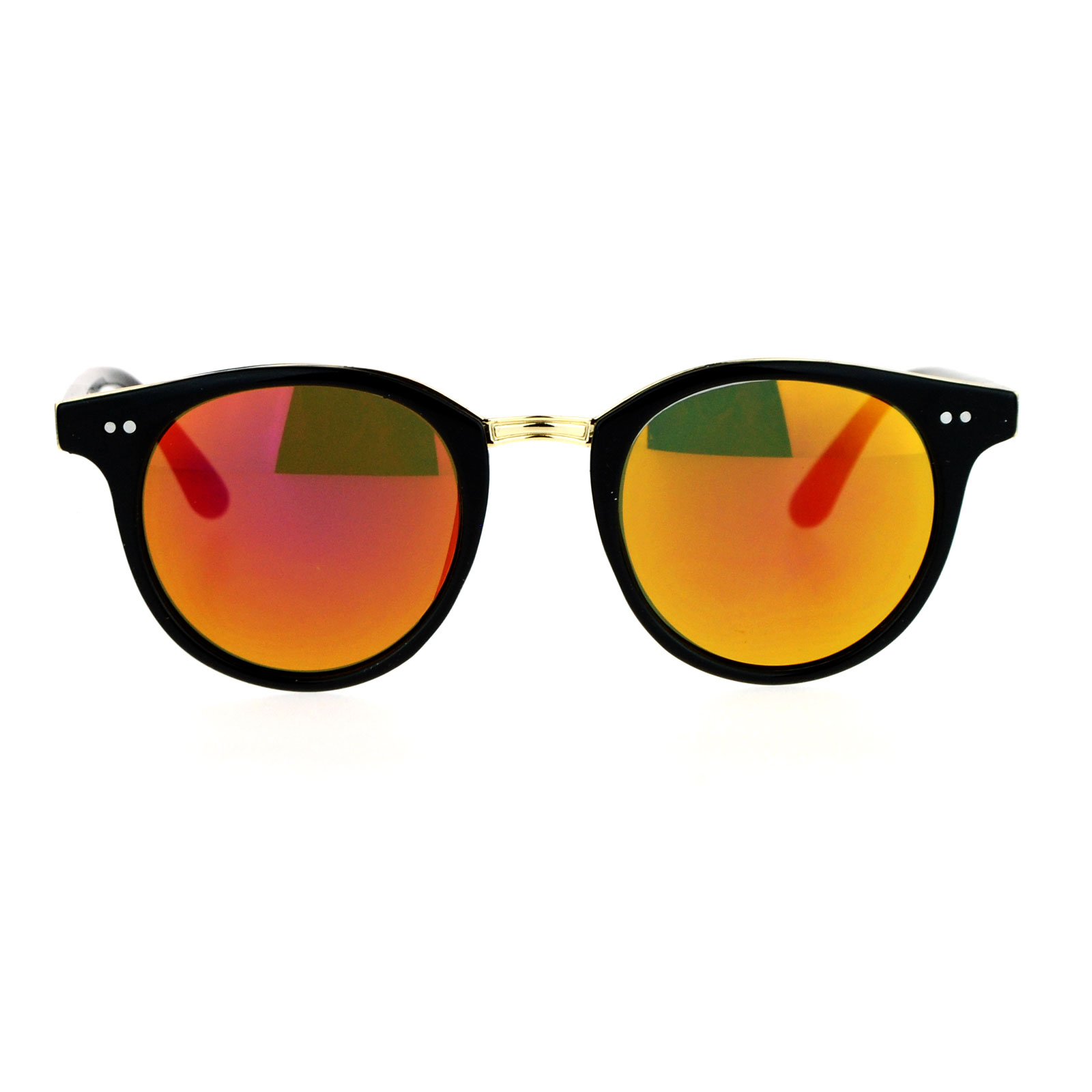 SA106 Vintage Classic Horn Rim Keyhole Sunglasses Black Orange