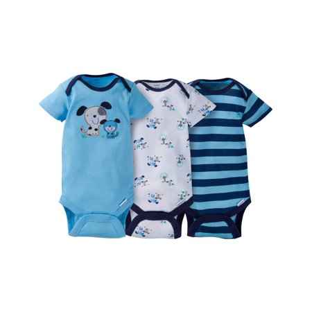Newborn Baby Boy Assorted Short Sleeve Onesies Bodysuits, 3-Pack for $<!---->