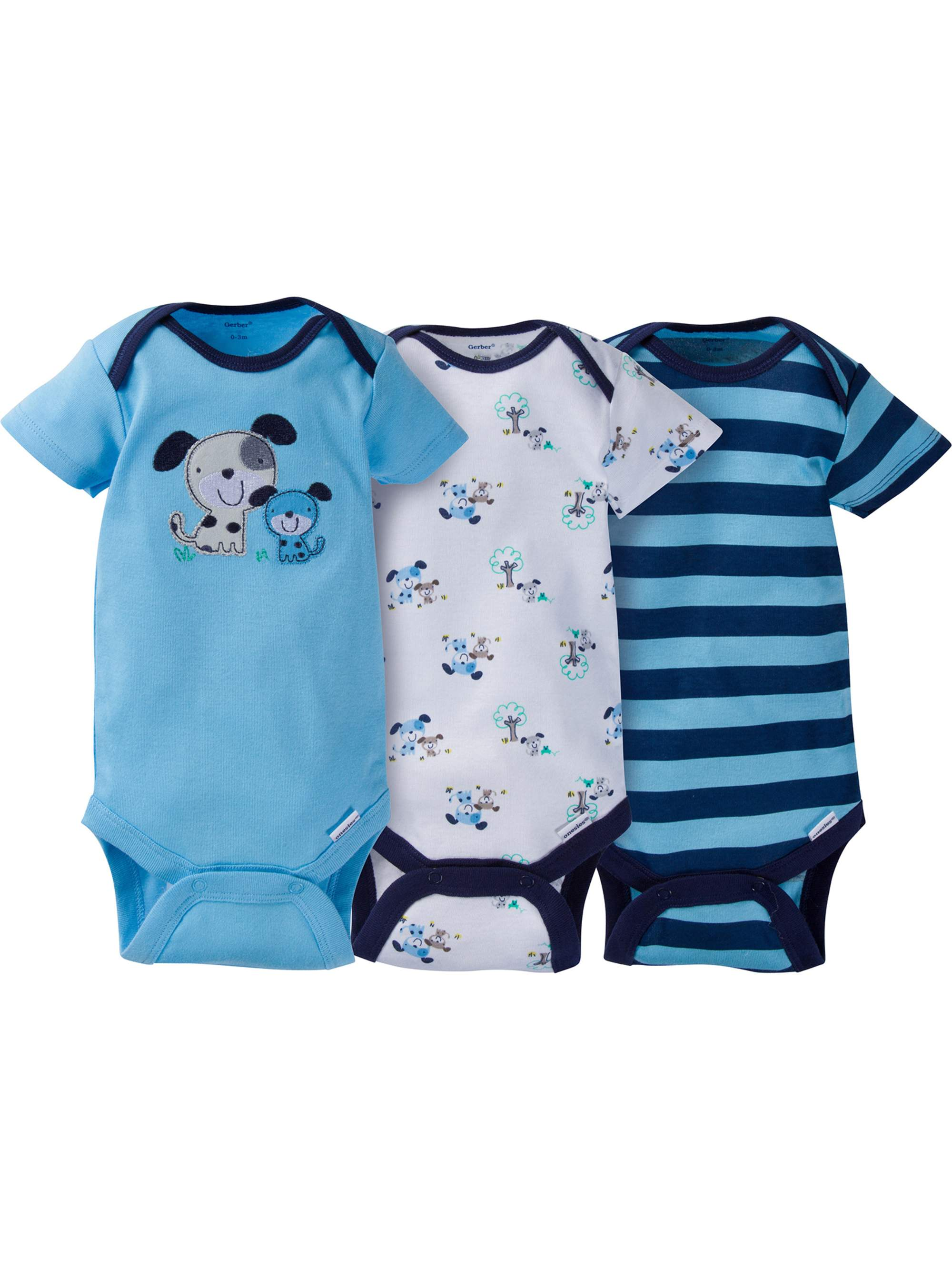 Newborn Baby Boy Assorted Short Sleeve Onesies Bodysuits, 3-Pack
