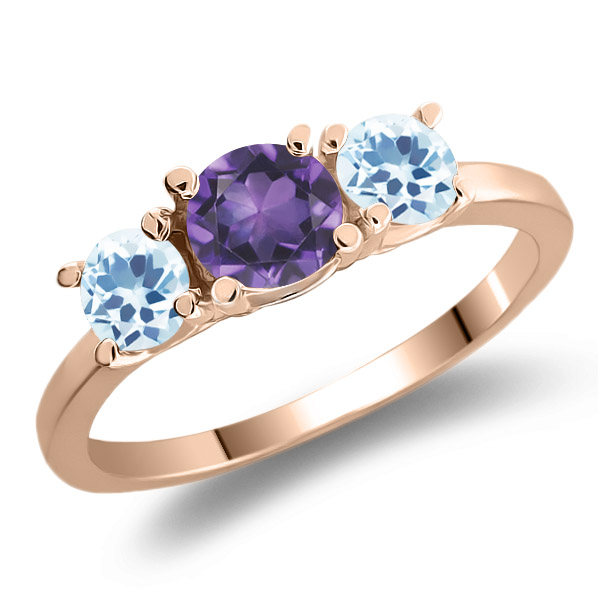 1.11 Ct Round Purple Amethyst Sky Blue Topaz 925 Rose Gold Plated Silver Ring