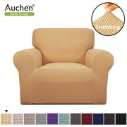 "Auchen Purefit Super Stretch Chair Sofa Slipcover, Beige Chair Slipcover Furniture Cover/Protector Fit Chair Sofa Width 31"" to 46"", Non Slip Soft with Small Checks ( Chair, Beige )"
