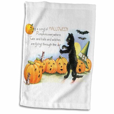 Symple Stuff Hults Sing A Song of Halloween Cat Bats And Jack O Lantern Pumpkins Hand Towel (Black Cat Halloween Song)