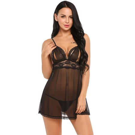d69a3c5178 Women Chemise Lingerie Sexy Nightie Full Slips Lace Babydoll Sleepwear Dress  with G-String HFON - Walmart.com