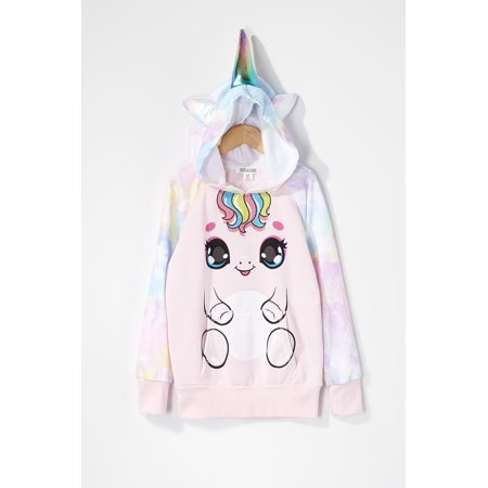 Urban Kids Youth Girls Tie Dye Unicorn Character Popover Hoodie - image 2 of 2