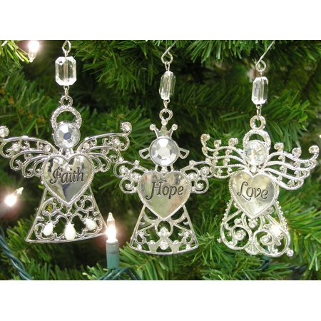Faith Hope Love - Set of 3 Angel Ornaments with Faith Hope Love Engraved on thier Hearts - Christmas Angels Ornaments, FAITH HOPE AND LOVE ANGELS..., By Banberry - 3 Christmas Angel Ornament