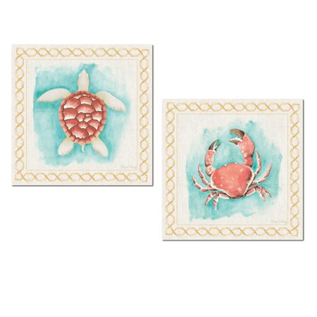 Lovely Turtle - Lovely Watercolor-Style Nautical Crab and Turtle Set by Elyse DeNeige; Coastal Decor; Two 12x12in Unframed Paper Posters