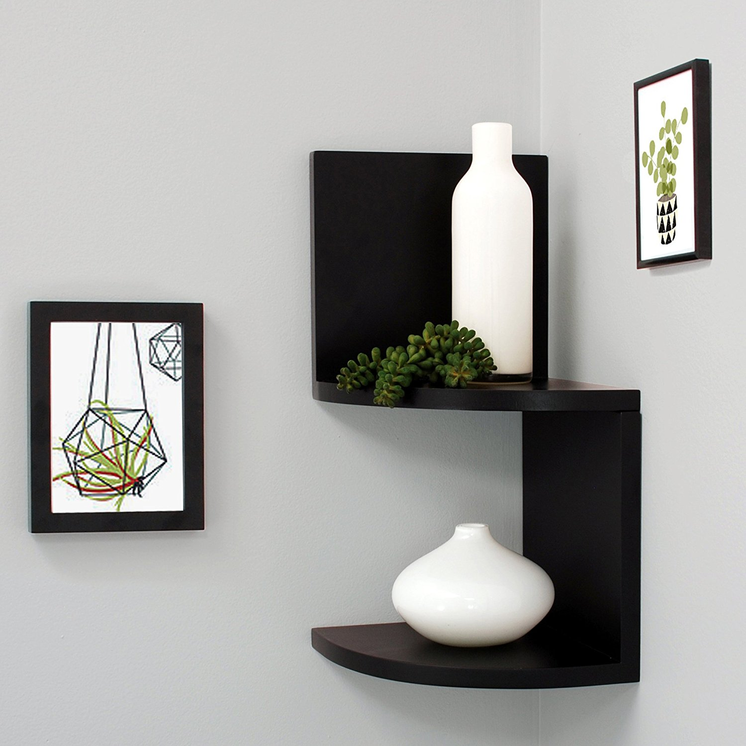 Priva 2 Tier Corner Shelf 7 75 Inch Per Black Stylish Shelves In Finish For An Edgy And Modern Look By Kiera Grace