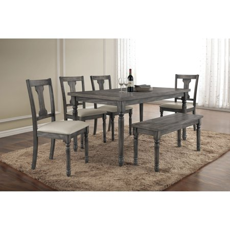 ACME Wallace Dining Table Weathered Blue Washed Walmartcom - Weathered dining table
