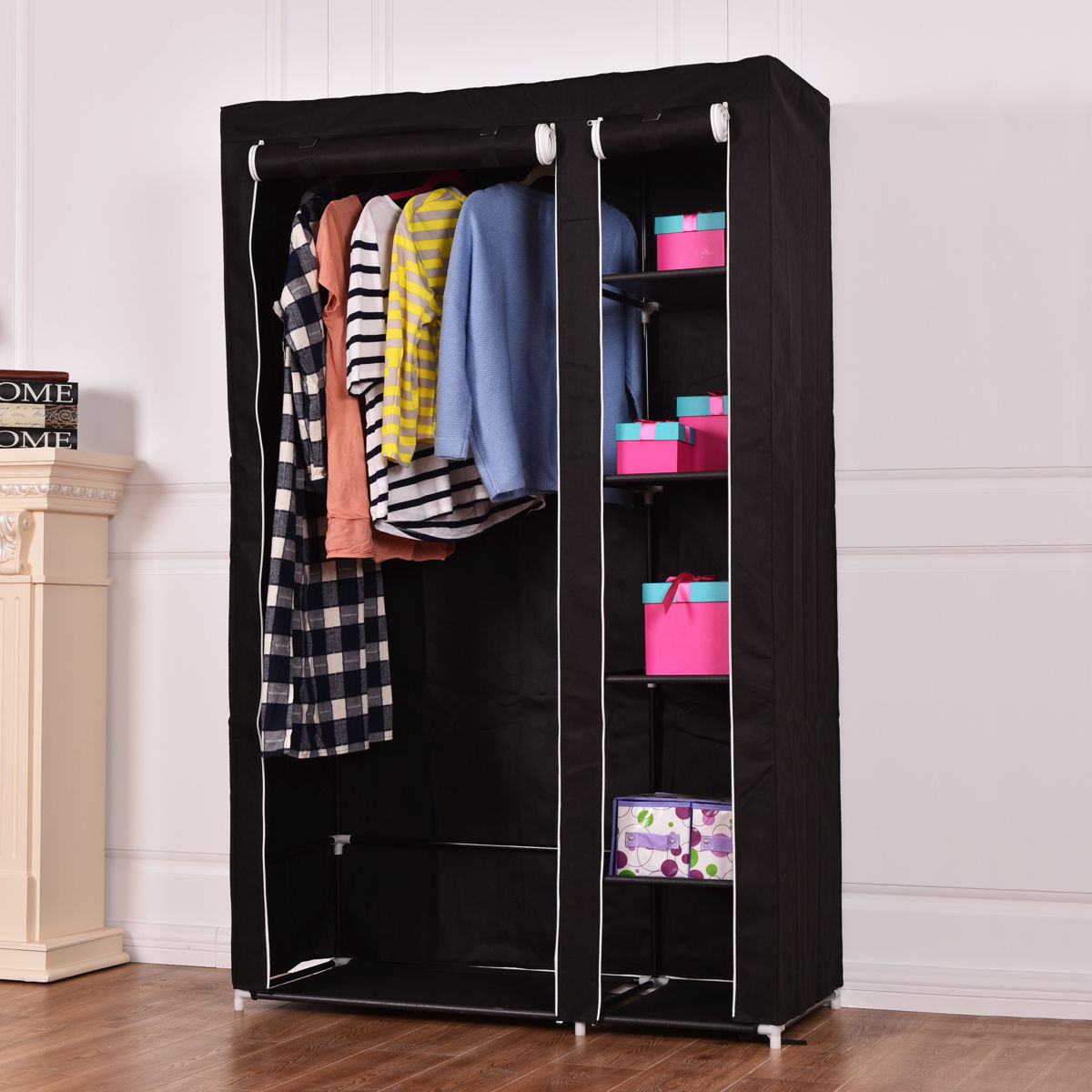 Costway 69'' Portable Closet Storage Organizer Clothes Wardrobe Shoe Rack W/6 Shelf Black