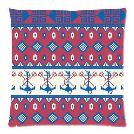 BSDHOME Seamless Pattern of Nautical Anchor Zippered Throw Pillow Cover Cushion Case 20x20 inches Two Sides Printing - image 1 of 1