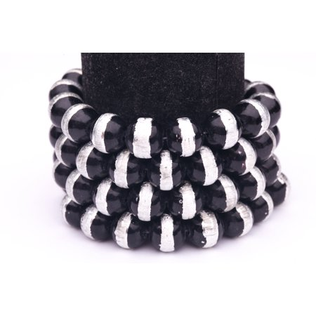 Pearl Spring Tin (Black Silver Foiled Glass Pearls 12mm Round Sold per pkg of 2x32Inch )