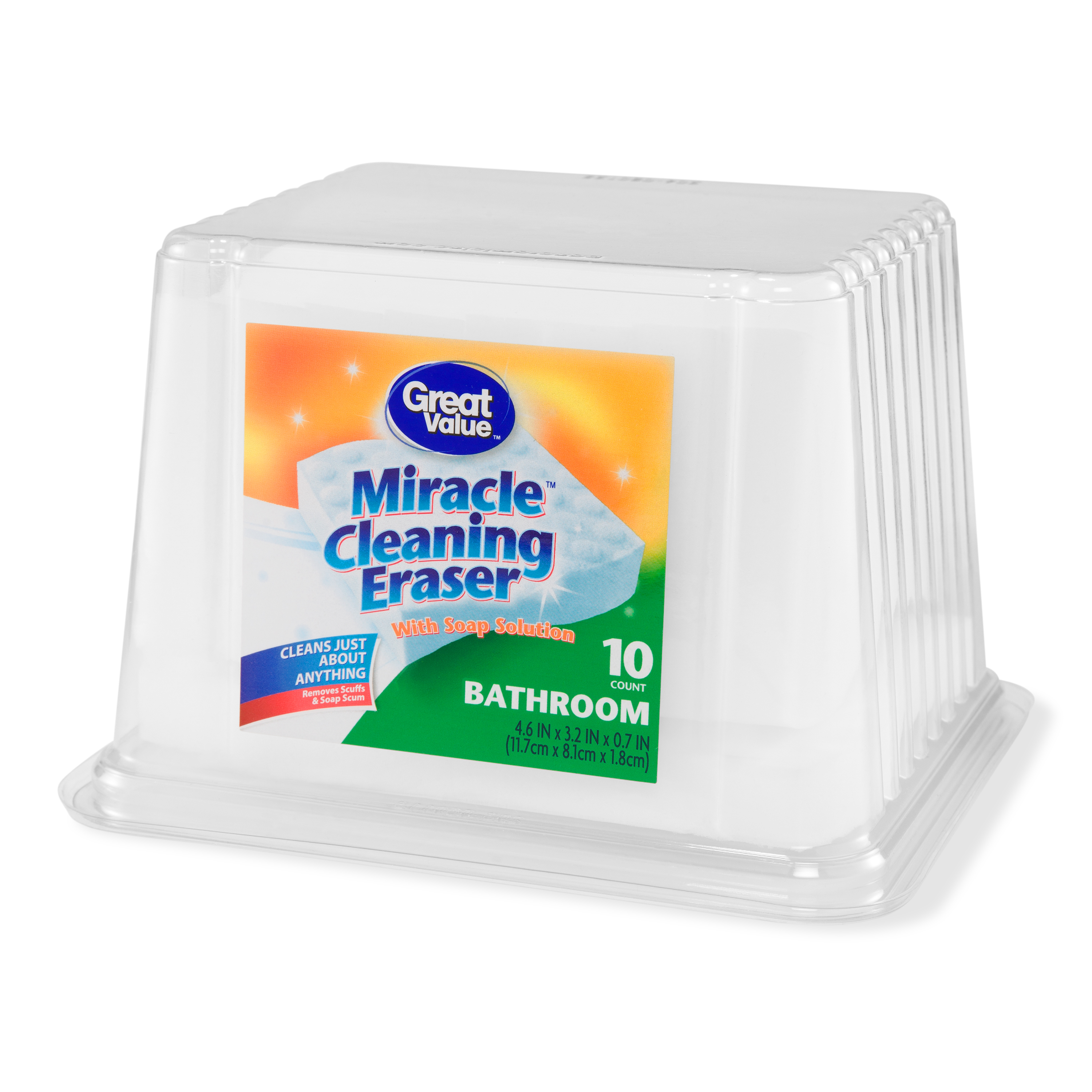 Great Value Miracle Cleaning Erasers with Soap Solution, Bathroom, 10 Count