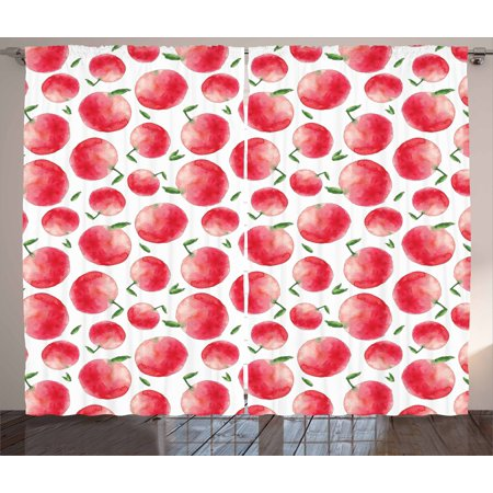 Apple Curtains 2 Panels Set, Hand Painted Watercolor Art Style Apples with Green Leaves Harvest Season, Window Drapes for Living Room Bedroom, 108W X 108L Inches, Dark Coral Green White, by Ambesonne