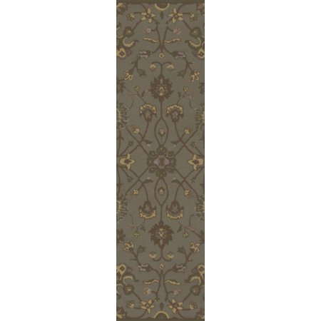 2.5' x 8' Valeria Avocado Green and Gold Hand Tufted Wool Area Throw Rug Runner