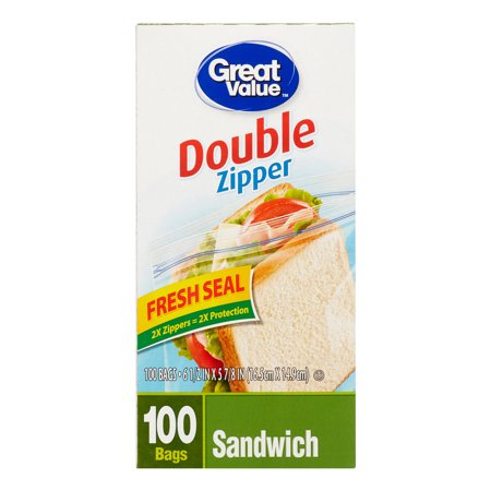 Great Value Double Zipper Sandwich Bags, 100 Count