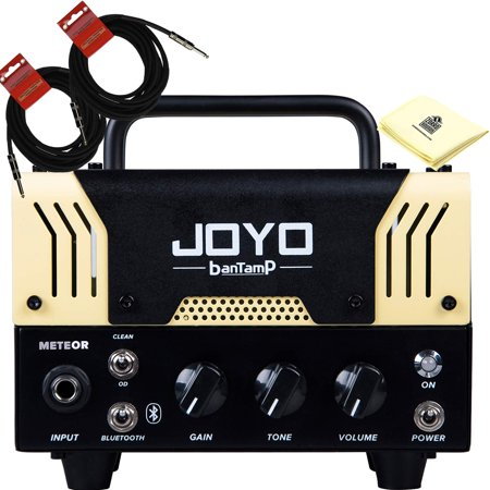 JOYO Meteor Bantamp 20w Pre Amp Tube Hybrid Guitar Amp head with Built in Cab Speaker Amp Simulation and Bluetooth music playing with 2 Instrument Cable and Polishing
