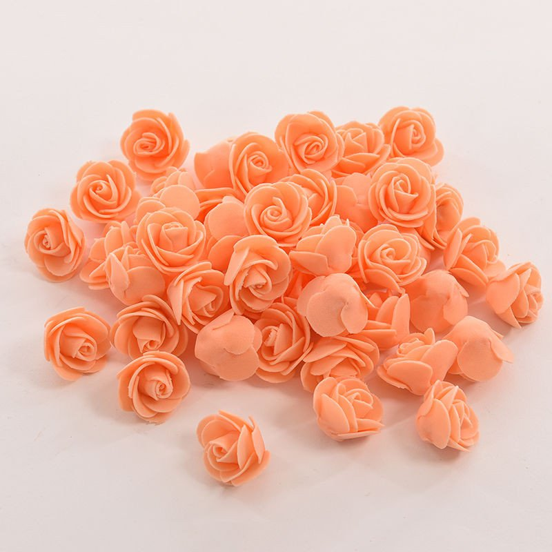 50 PCS Mini PE Foam Rose Artificial Flowers For Wedding Car Decoration DIY Pompom Wreath Decorative Valentine's day Fake Flowers