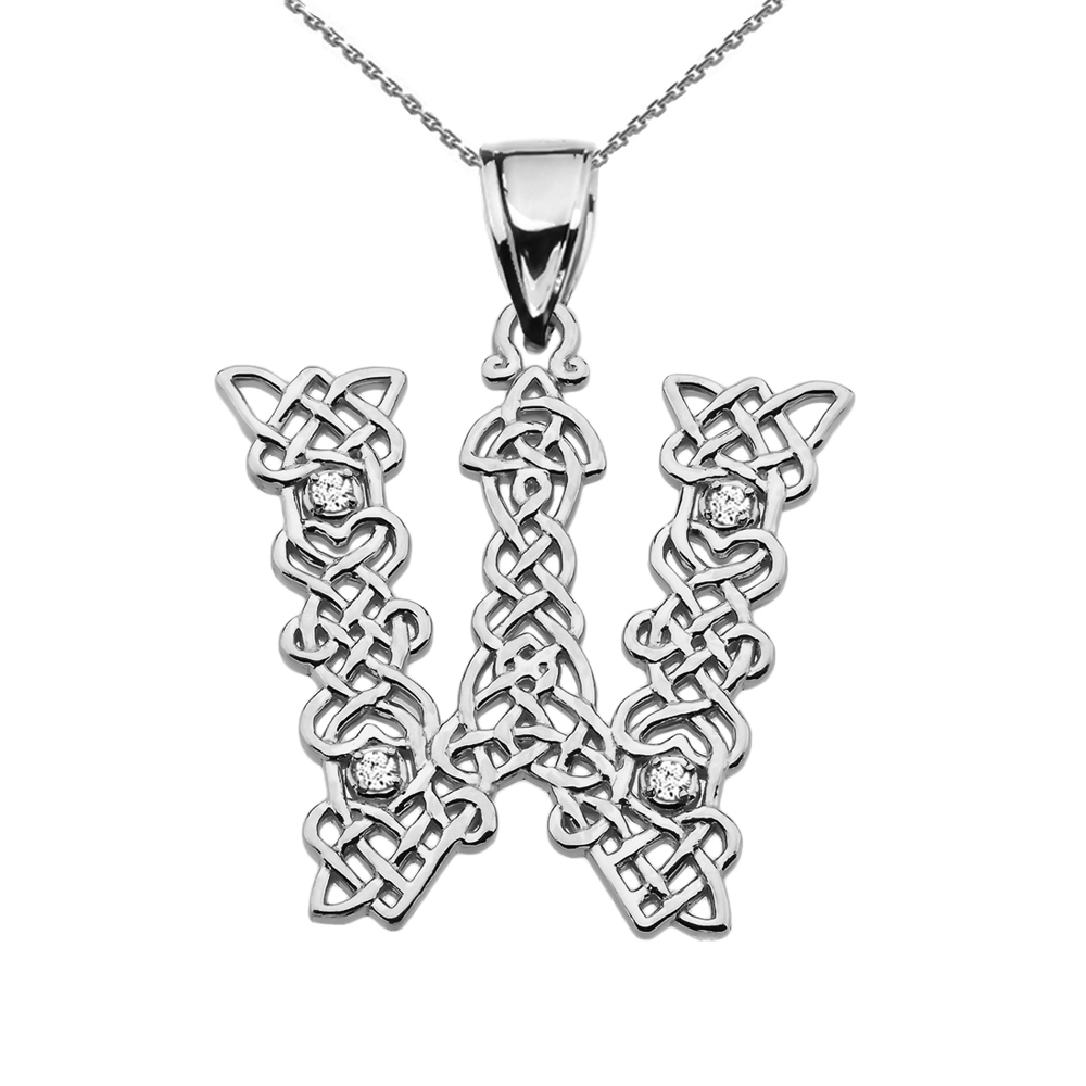 """W"" Initial In Celtic Knot Pattern Sterling Silver Pendant Necklace With Diamond"