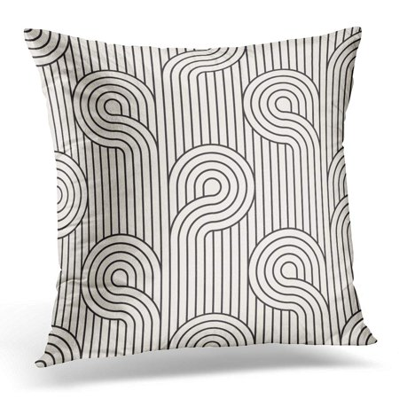 ECCOT Black Graphic Modern Stylish Geometric Striped Monochrome Linear Loops Abstract Pillowcase Pillow Cover Cushion Case 16x16 inch