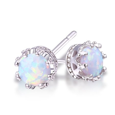18K White Gold Plated White Opal 7mm Stud Earrings 7mm May Birthstone Earrings