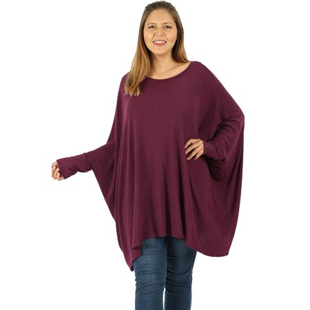 Loose Batwing Poncho (JED FASHION Women's Batwing Sleeve Poncho Tunic Top sizes)