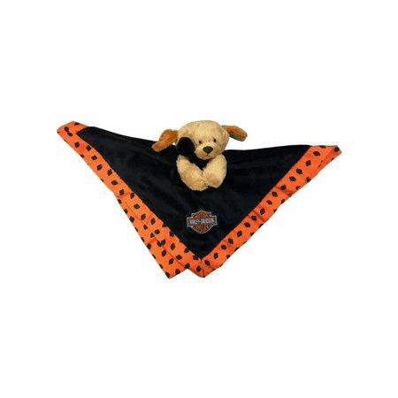 - Harley-Davidson Cuddles 14 in. Plush Blanket Pup, Black & Orange 9950831, Harley Davidson