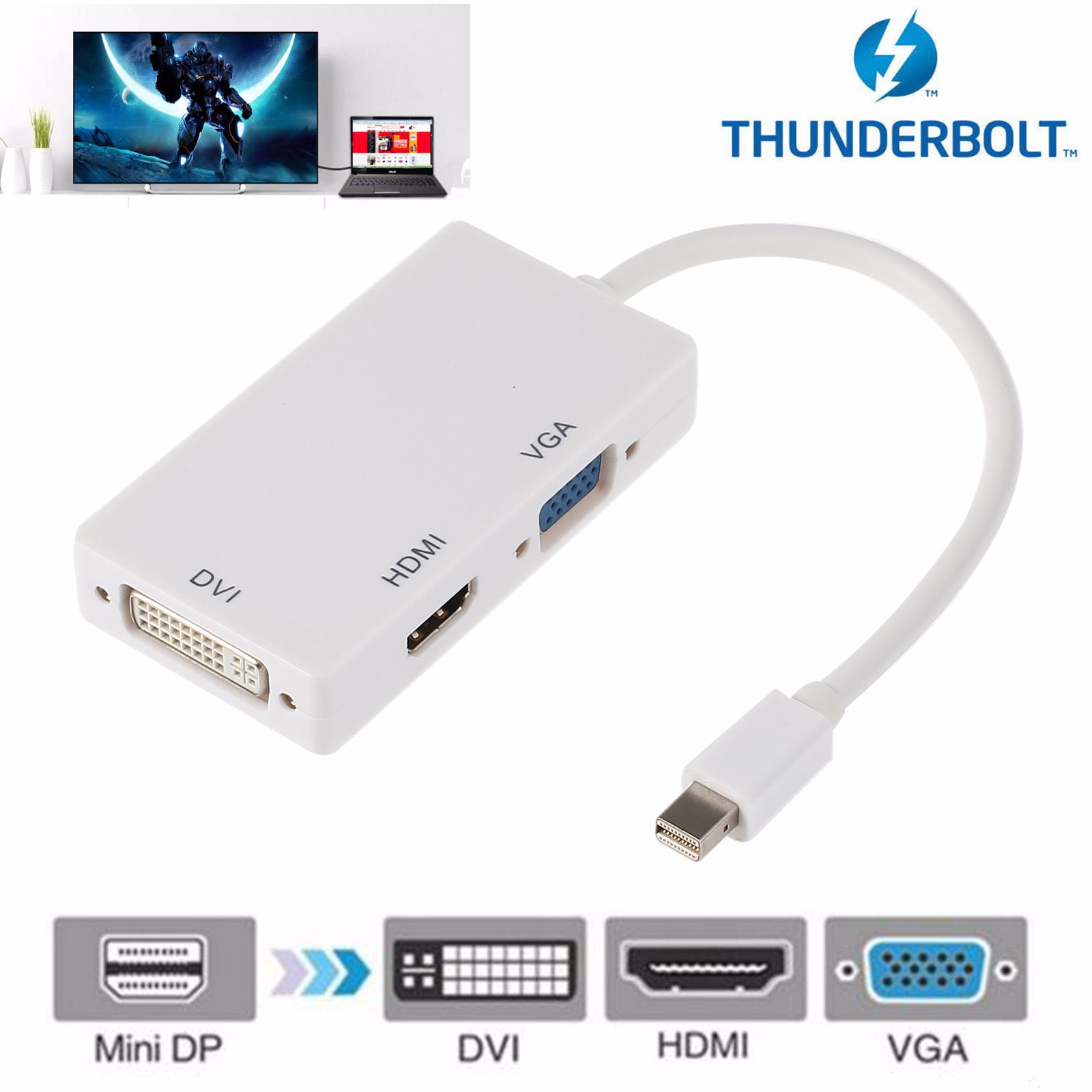 ESYNIC Mini Displayport Thunderbolt to HDMI VGA DVI Adapter Cable 3 in 1 Mini Display Port DP to DVI VGA HDMI Adapter Cable 28cm for IMac Mac Book Pro
