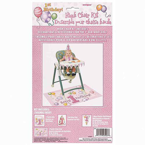 Pink Balloons 1st Birthday High Chair Decorating Kit, 4pc