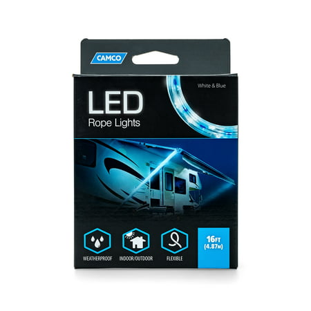 Camco LED 16' Blue and White Rope Camper Interior and Exterior Lighting for Special Occasions and Outdoor Events, Fits Into Your RV Awning Track (Best Led Lights For Track Lighting)