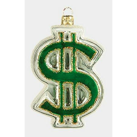 Green Dollar Symbol Sign Polish Glass Christmas Tree Ornament Money Decoration
