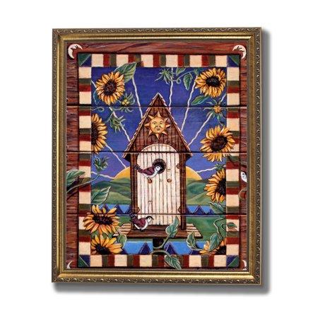 Folk Art Birdhouses - Country Birdhouse Flower Folk Wall Picture Gold Framed Art Print