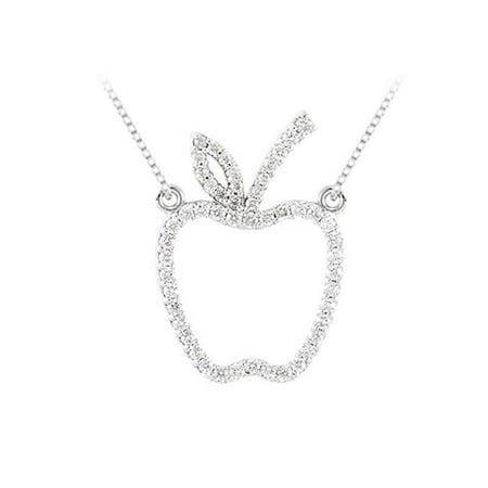 Fine Jewelry Vault UBPDS85842W14D 0.50 carat Diamonds Designer inspired Apple Necklace in 14K White Gold