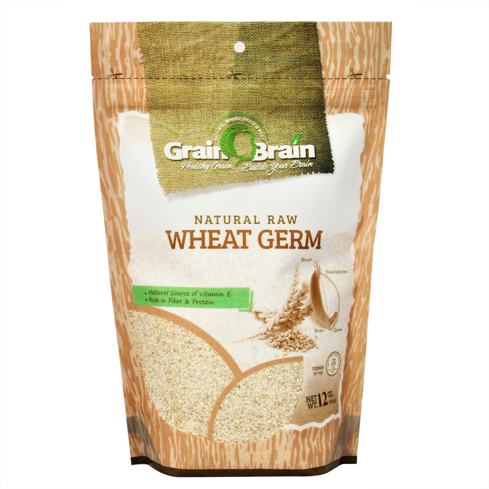 Grain Brain Wheat Germ 12 oz (12 oz) Raw, All natural, Untoasted. Packaged in Resealable Pouch bags for easy use
