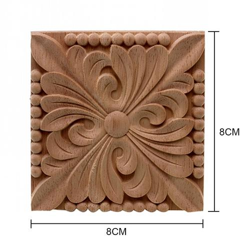 8x8cm Square Shape Wood Carved Unpainted Corner Onlay Decal Applique Flower Pattern for Home Furniture Door Closet Cabinet Decor
