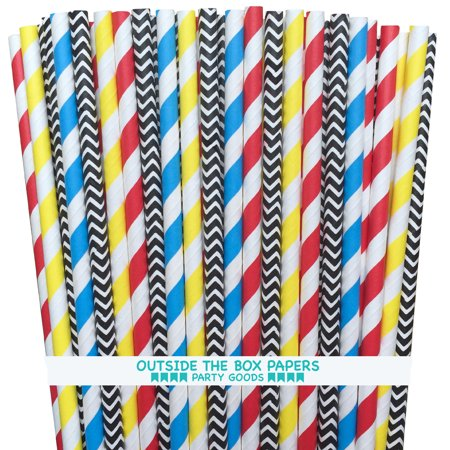 Red, Yellow, Blue  and Black Superhero Theme  Paper Straws- 100