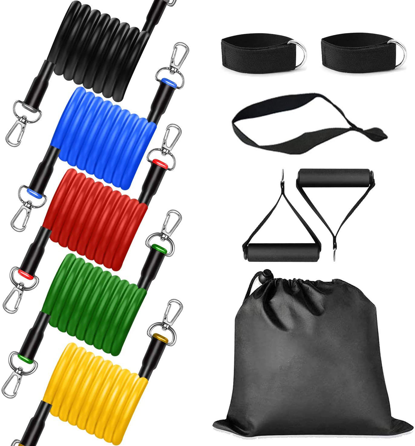 Resistance Bands Gym Training Physical Therapy Yoga and More 5 Stackable Exercise Bands with 1 Door Anchor,2 Foam Handle,2 Metal Foot Ring/&Carrying Case for Home Workouts