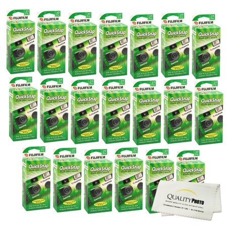 Fujifilm QuickSnap Flash 400 Disposable 35mm Camera (20 Pack)+ Quality Photo Microfiber Cloth