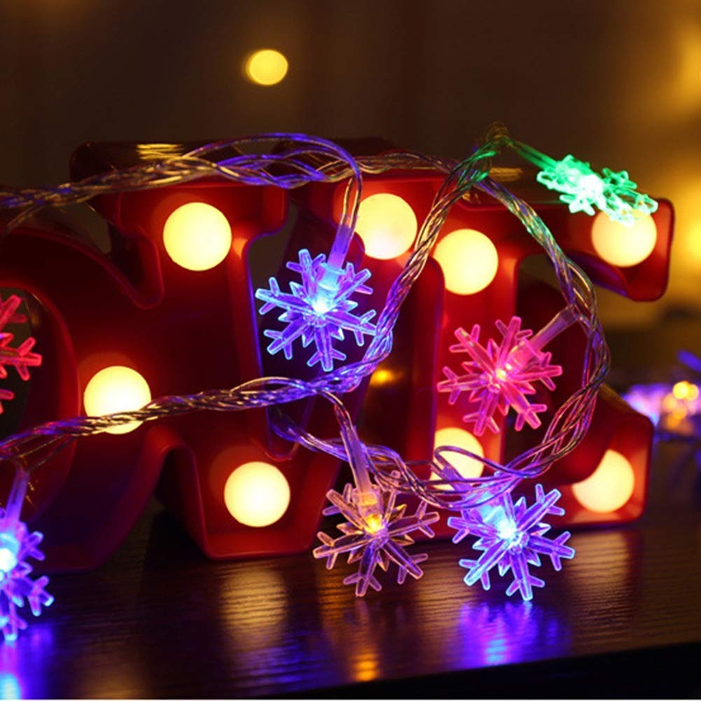 Snowflake LED Fairy String Lights Outdoor Battery Operated Christmas Decoration