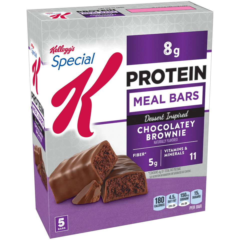 Kellogg's Special K Protein Meal Bar, Chocolately Brownie, 8g Protein, 5 Ct