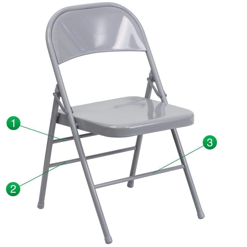 Triple Braced & Double Hinged Gray Metal Folding Chair