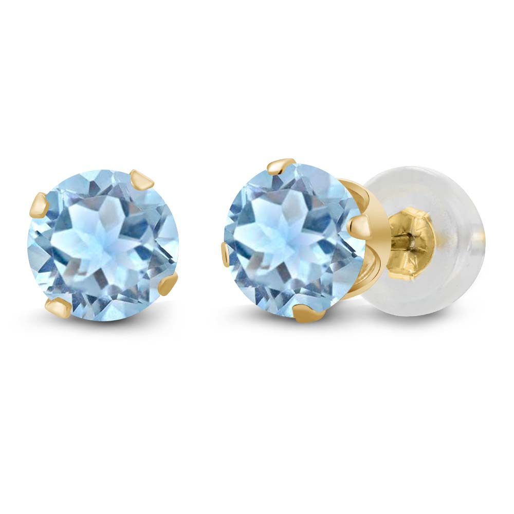 0.44 Ct Round Sky Blue Aquamarine 14K Yellow Gold 4-prong Stud Earrings 4mm