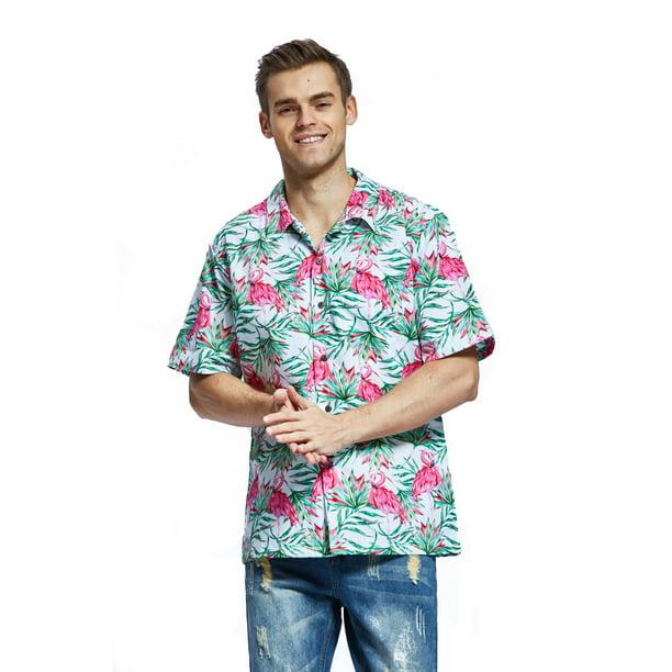 Men's Hawaiian Shirt Aloha Shirt Christmas Shirt Flamingo in Love White