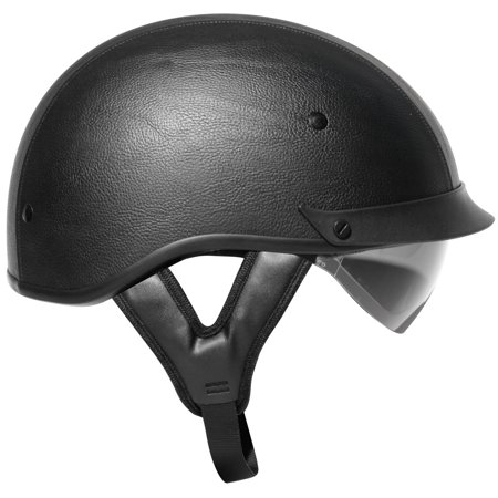 Outlaw T-72 Black Synthetic Leather Dual-Visor Motorcycle Half (Leather Half Helmet)