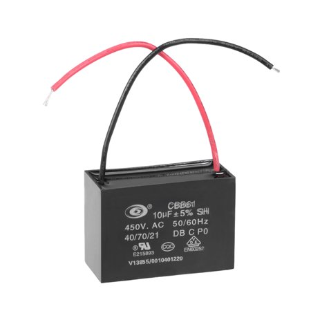 CBB61 Run Capacitor 450V AC 10uF 2-wire Metallized Polypropylene Film Capacitors for Ceiling Fan