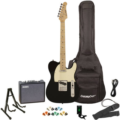 Sawtooth ET Series Electric Guitar Kit with Sawtooth 10 Watt Amp and ChromaCast Accessories, Black with Aged White Pickguard