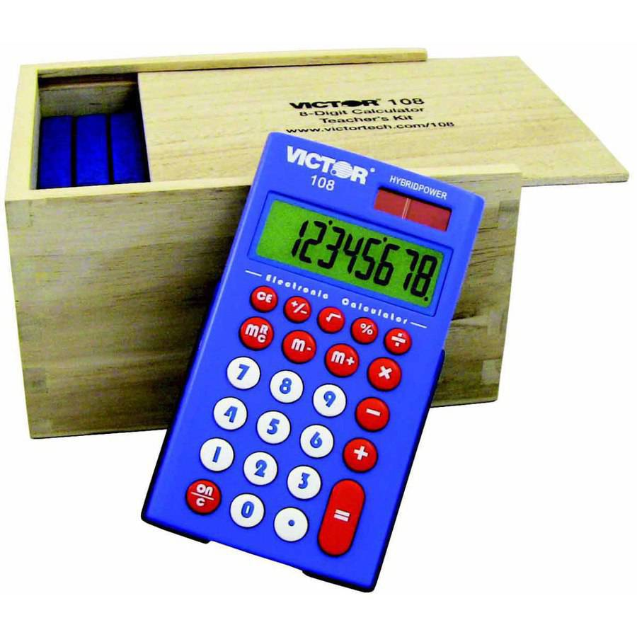 Victor 108 Calculator Kit in Biodegradable Wood Storage Box, Blue, Pack of 10