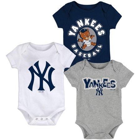New York Yankees Newborn & Infant Everyday Fan Three-Pack Bodysuit Set - Navy/White/Heathered Gray ()