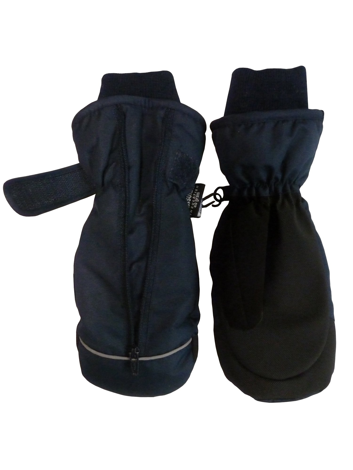 NICE CAPS Kids Waterproof and Thinsulate Insulated Easy On Zip-Up Snow Winter Ski Snowboarder Mittens - Fits Boys Girls Toddler Little Children Youth Child For Cold Weather Outdoors