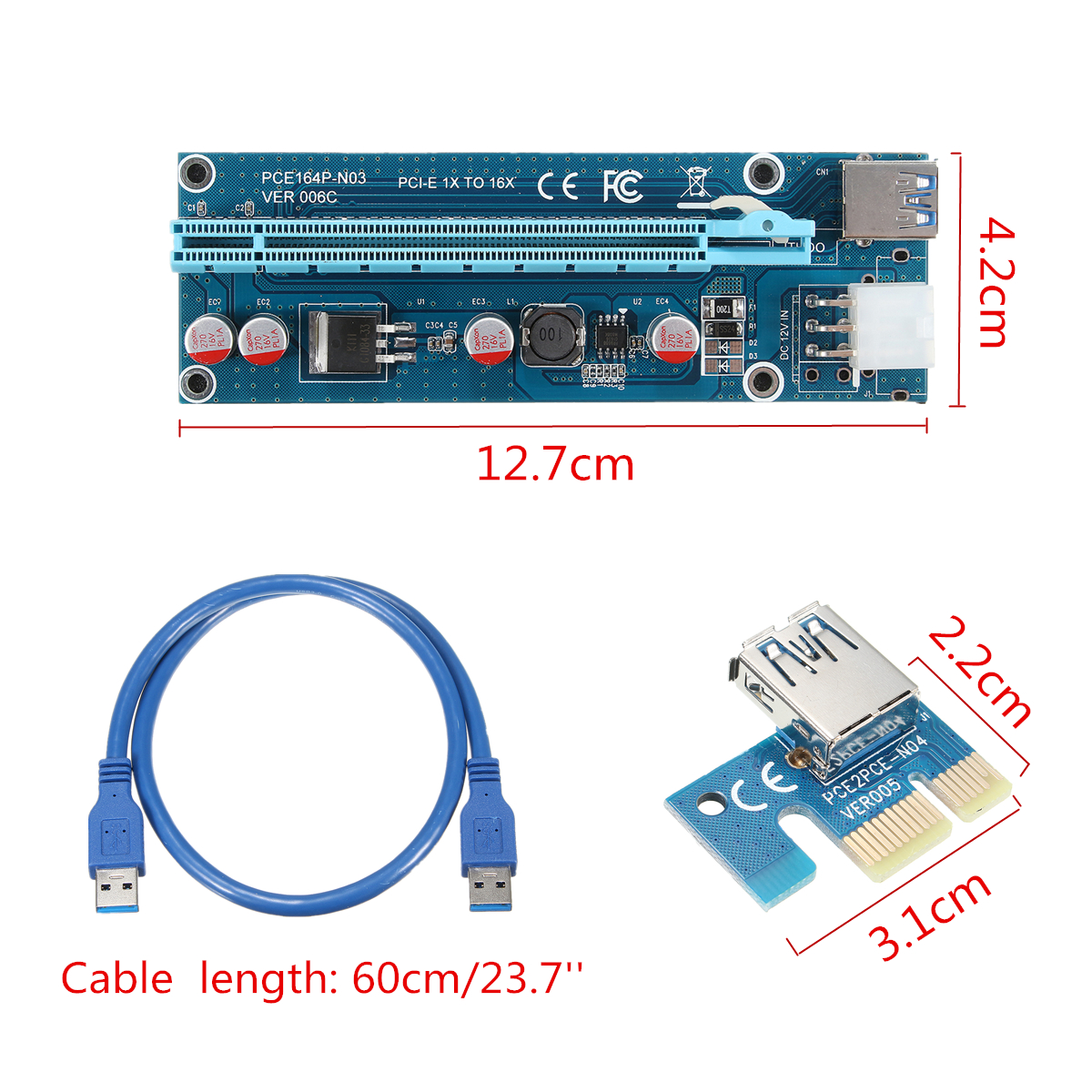 6 Pieces Ethereum Mining ETH with 0.6 m USB 3.0 Extension Cable /& 6PIN SATA Power Cable BEYIMEI PCI-E1X to 16X Riser Card Extension Cable GPU Extender Riser Card